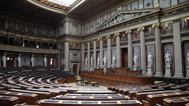 vienna, the austrian parliament building, debating chamber of the former house of deputies of austria - male likeness stock videos & royalty-free footage
