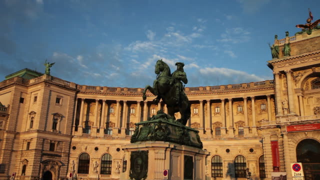 vienna, the statue of prince eugene of savoy in front of hofburg palace, heldenplatz - palace stock videos & royalty-free footage