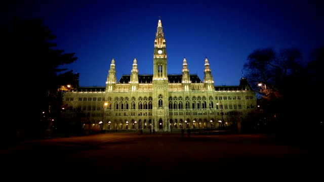 vienna town hall at night - vienna austria stock videos & royalty-free footage