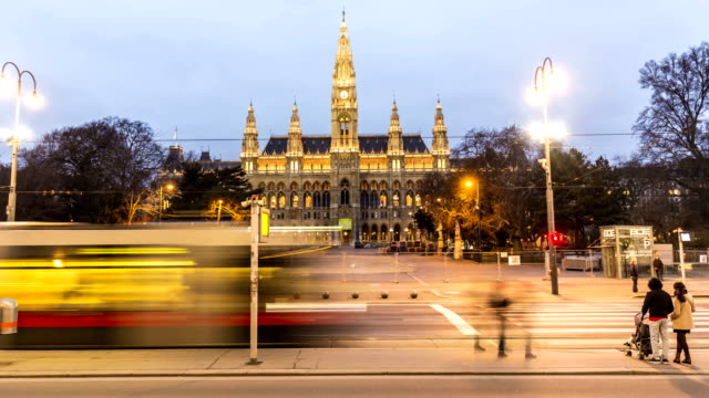 vienna town hall at sunset, time lapse - vienna stock videos & royalty-free footage
