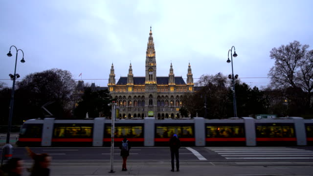 vienna town hall at sunset - rathaus stock videos & royalty-free footage