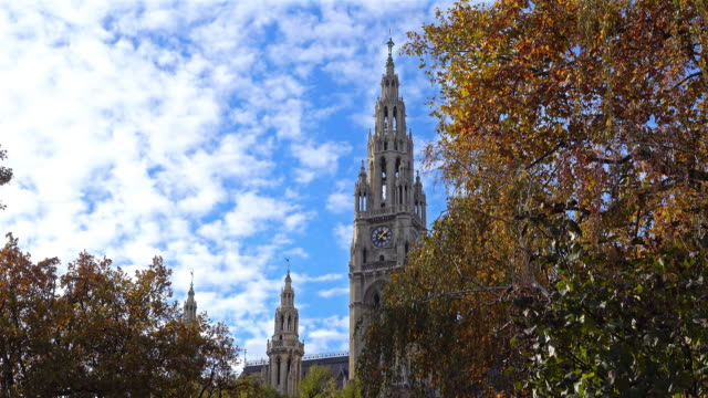 vienna town hall in autumn - deciduous stock videos & royalty-free footage