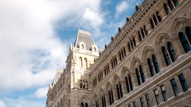 vienna town hall - time lapse - vienna city hall stock videos & royalty-free footage