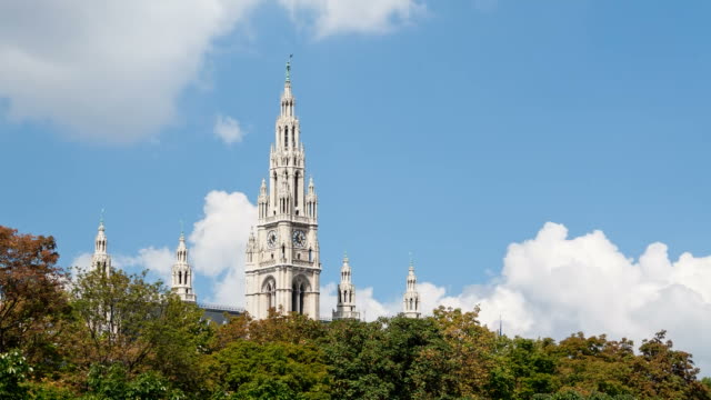 vienna town, hall, time lapse - vienna city hall stock videos & royalty-free footage