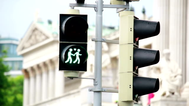 vienna traffic light for more tolerance - pedestrian crossing stock videos & royalty-free footage