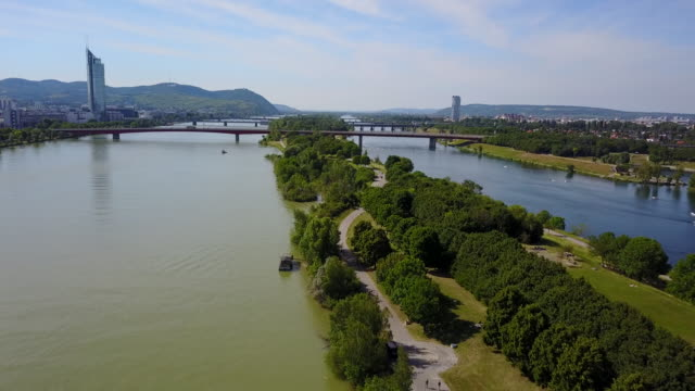 vienna - river danube video stock e b–roll