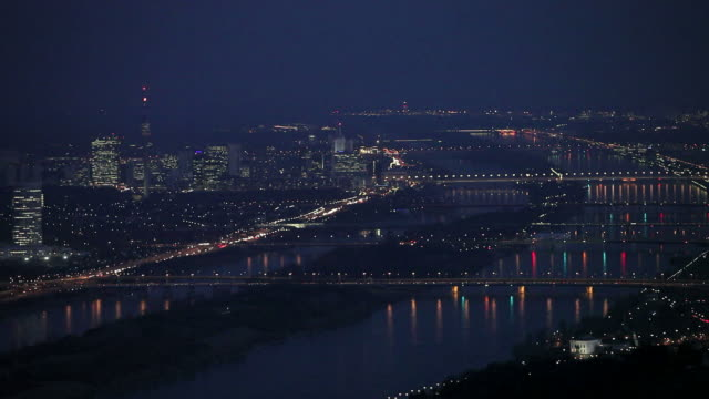 Vienna with danube at night