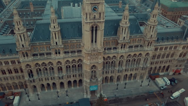 vienna's rauhaus aerial shot, seat of mayor and city council. vienna city hall aerial drone footage. - austria video stock e b–roll