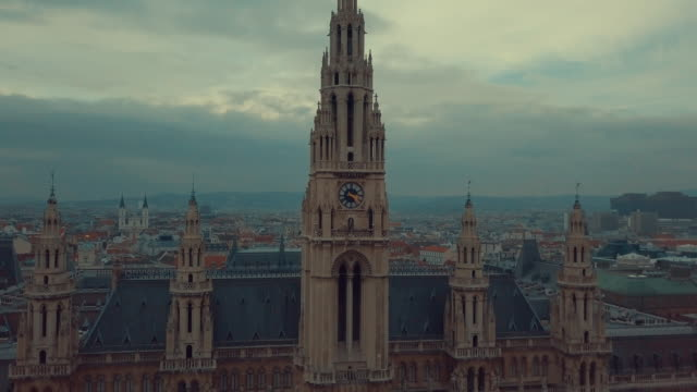 vienna's rauhaus aerial shot, seat of mayor and city council. vienna city hall aerial drone footage. - austria stock videos & royalty-free footage