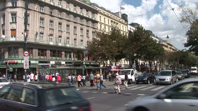 viennaview of a pedestrian crossing in vienna austria - austrian culture stock videos & royalty-free footage