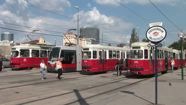 viennaview of a tram stop in vienna austria - traditionally austrian stock videos & royalty-free footage