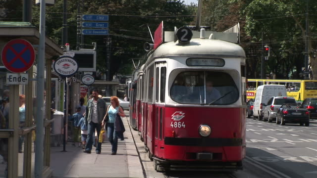 viennaview of a tram stop in vienna austria - austrian culture stock videos & royalty-free footage