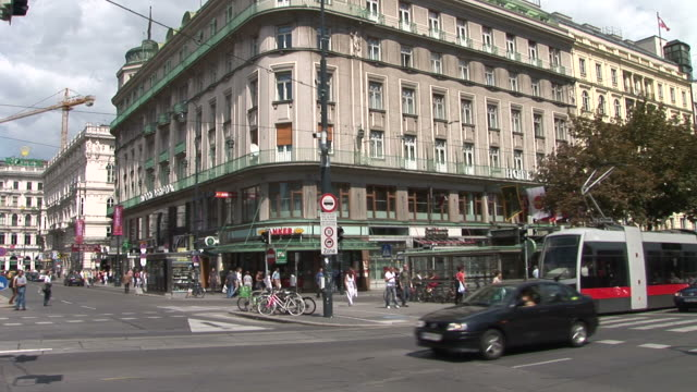 viennaview of an intersection in vienna austria - traditionally austrian stock videos & royalty-free footage