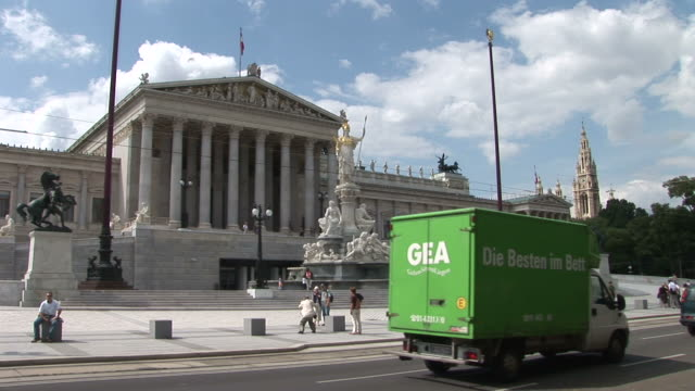 viennaview of parliament in vienna austria - traditionally austrian stock videos & royalty-free footage