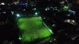 Vientiane City Football Stadium in Laos at night seen from the sky