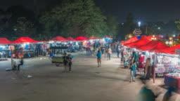 Vientiane Laos time lapse 4K, city skyline night timelapse at Vientiane night market