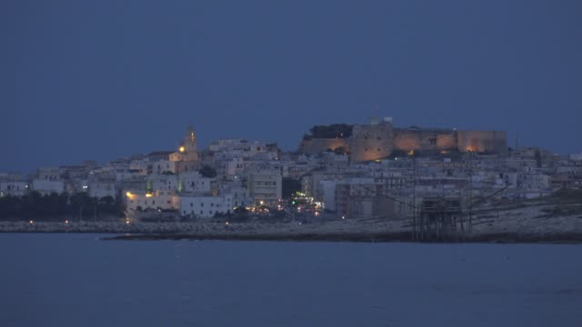 vieste town with cathedral and castello over the adriatic sea at night - adriatic sea stock videos & royalty-free footage