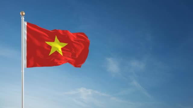 4 k vietnamesischer flagge-schleifen einsetzbar - fahnenstange stock-videos und b-roll-filmmaterial