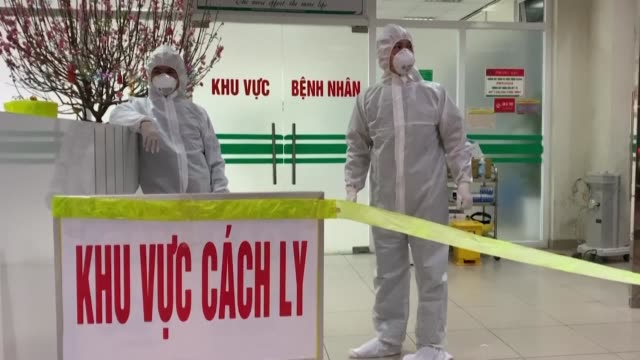 vietnam hospital in hanoi has cordoned off a wing to treat patients infected with a virus similar to the sars pathogen with the government saying... - sudden acute respiratory syndrome stock videos & royalty-free footage