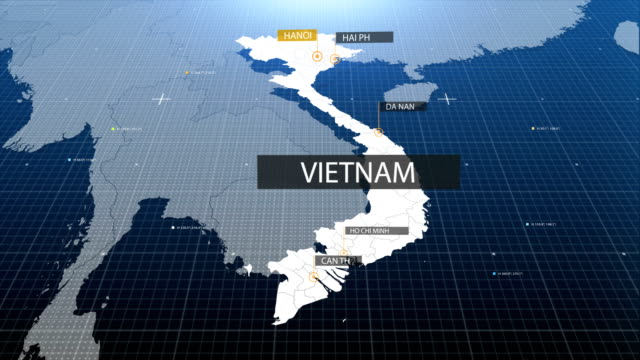 vietnam map with label then with out label - guerra del vietnam video stock e b–roll