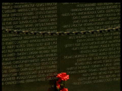 stockvideo's en b-roll-footage met vietnam memorial washington dc showing names of dead soldiers tilt down to red rose plant at base - gedenkteken