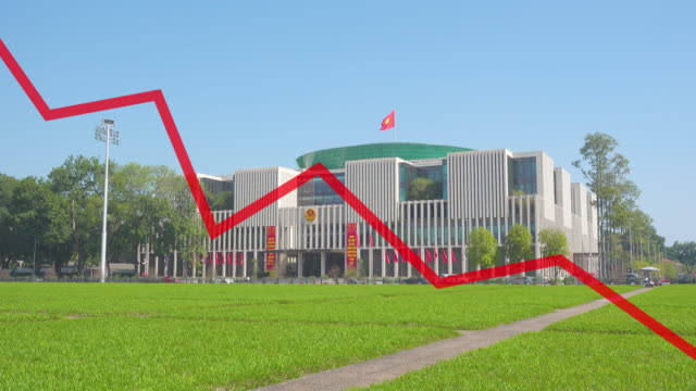 vietnam national assembly building and crisis red line chart crash digitally generated image composition - national assembly stock videos & royalty-free footage