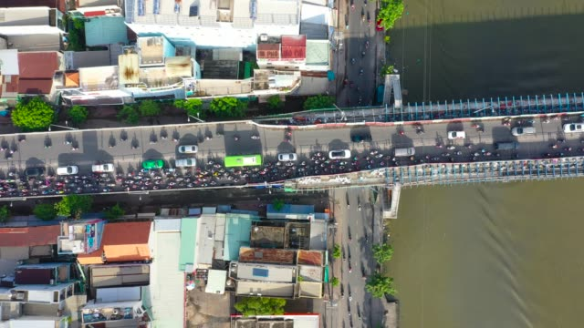 stockvideo's en b-roll-footage met vietnam rush hour traffic jam on the bridge - bumper