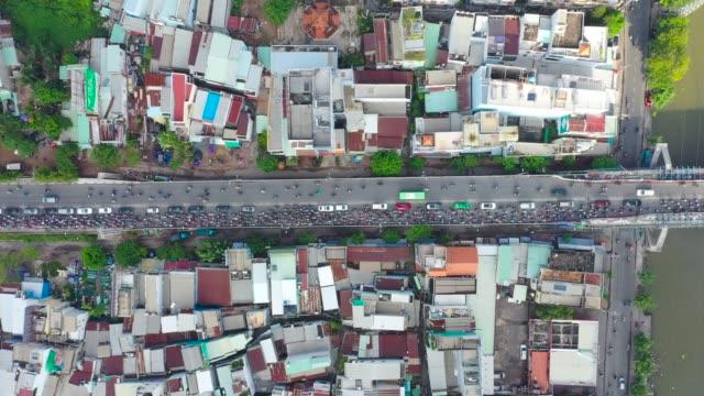 stockvideo's en b-roll-footage met vietnam rush hour traffic jam on the bridge - stopbord