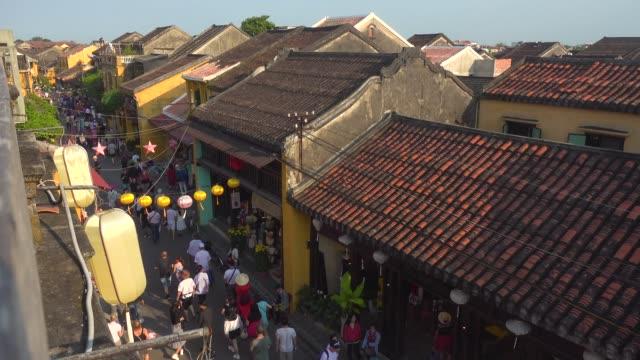 vietnam street directly above. tourists with rickshaw - vietnam stock videos & royalty-free footage