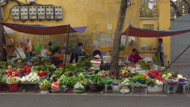 vietnam vegetables street market at thien thuat - newly industrialized country stock videos & royalty-free footage