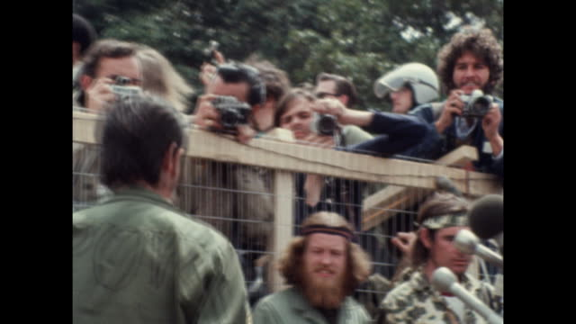 vietnam veterans throw away their war medals on capital grounds as part of an event called operation dewey canyon iii named after a series of small... - medal stock videos & royalty-free footage