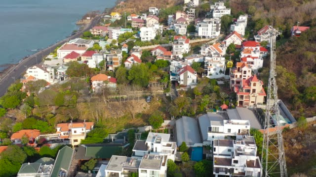 vietnam, vung tau city at the doppel mayer cable car aerial view. - economy class stock videos & royalty-free footage