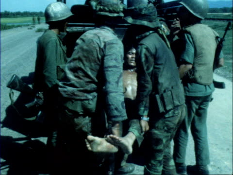 south vietnamese abandon quang tri south vietnam highway 1extms troops and lorry towardsms three troops lr along highwaygv troops standinglms convoy... - stain test stock videos & royalty-free footage