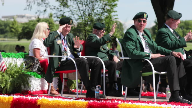 vietnam war veterans ride on a float during the national memorial day parade on memorial day - us memorial day stock videos & royalty-free footage