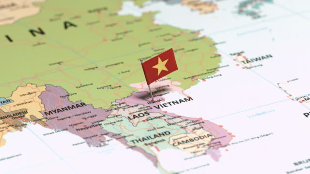 vietnam with national flag - capitali internazionali video stock e b–roll