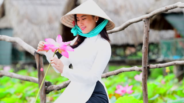 vietnam women hold lotus sitting on lotus field, vietnam - persona attraente video stock e b–roll