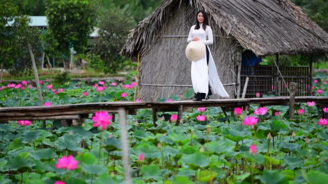 vietnam women hold lotus walking on lotus field, vietnam - south east asian ethnicity stock videos & royalty-free footage