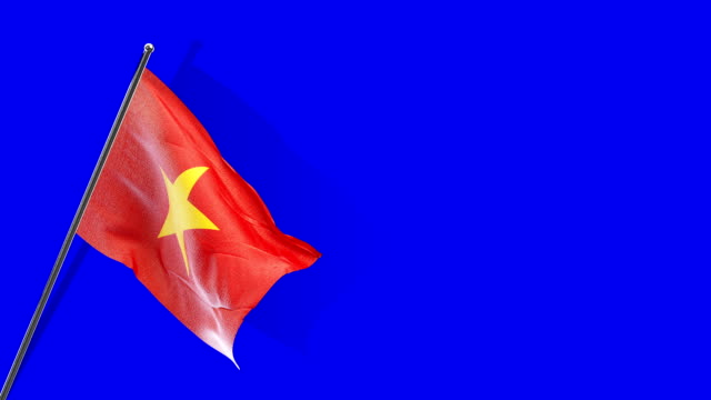 vietnamese flag rising - single object stock videos & royalty-free footage