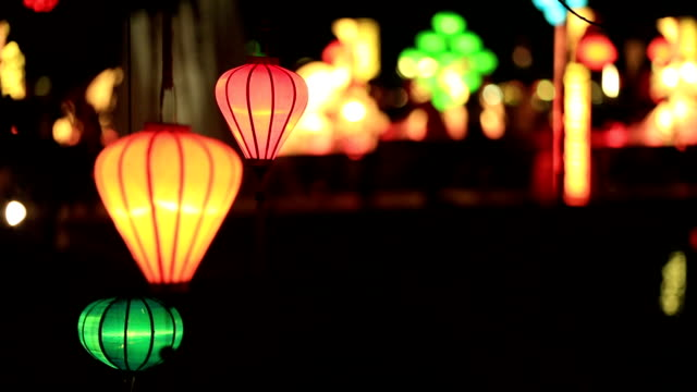 Vietnamese illuminated Lamps in Market at Night, Hoi An, Vietnam