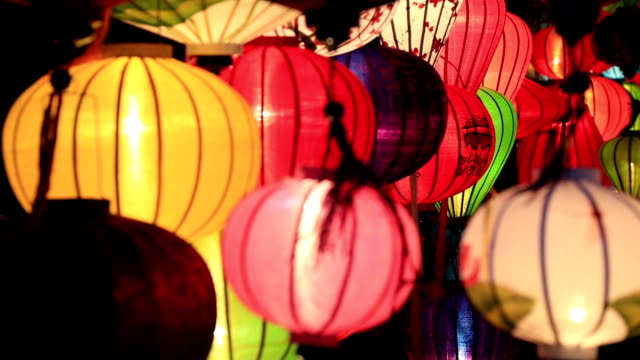 Vietnamese illuminated Lamps in Market at Night, Hoi An, Vietnam