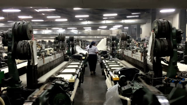 vietnamese textile factory interior - textile mill stock videos & royalty-free footage