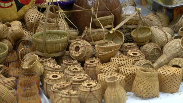 Vietnamese traditional fisherman equipments by bamboo for display