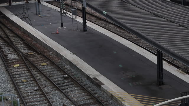 view above on empty lanes with many sncf employees on strike gare de lest remains almost empty only a few trains are maintained on december 5 2019 in... - tramway stock videos & royalty-free footage
