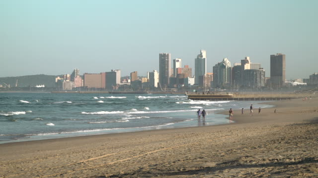view across durban beachfront, south africa - durban stock videos and b-roll footage
