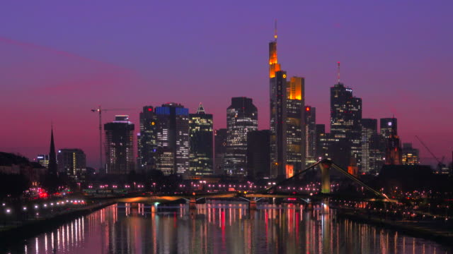 View across Main River towards Floesser Bridge and Skyline of Frankfurt am Main, Hesse, Germany