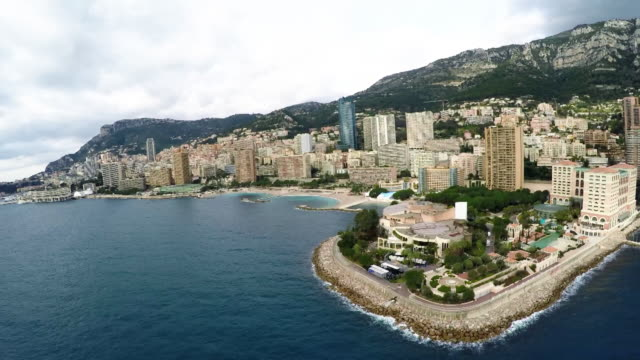 view across monte carlo beach, monaco aerial view - bay of water stock videos & royalty-free footage