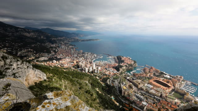 view across monte carlo beach, monaco timelapse - monaco stock videos and b-roll footage