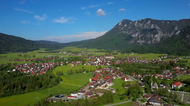 stockvideo's en b-roll-footage met view across niederachen towards the town of inzell, upper bavaria, bavarian alps bavaria, germany - bavarian alps