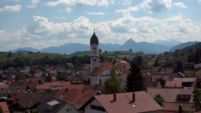 view across the town of nesselwang, allgaeu, swabia, bavaria, germany - 17th century stock videos & royalty-free footage