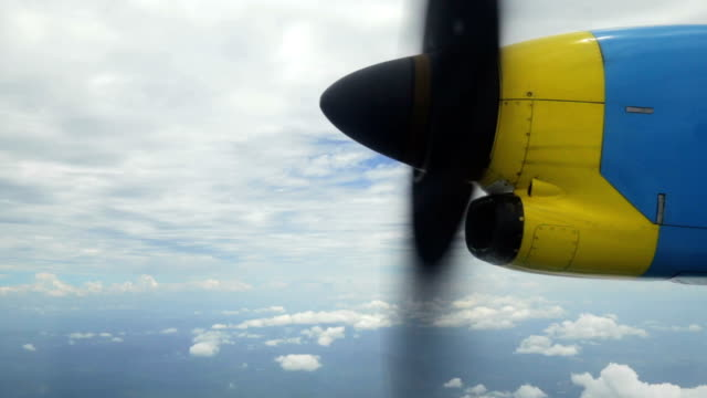 View airscrew and clouds on airplane